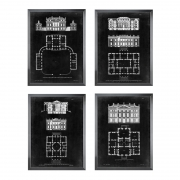 Prints Graphic Building & Plan set of 4